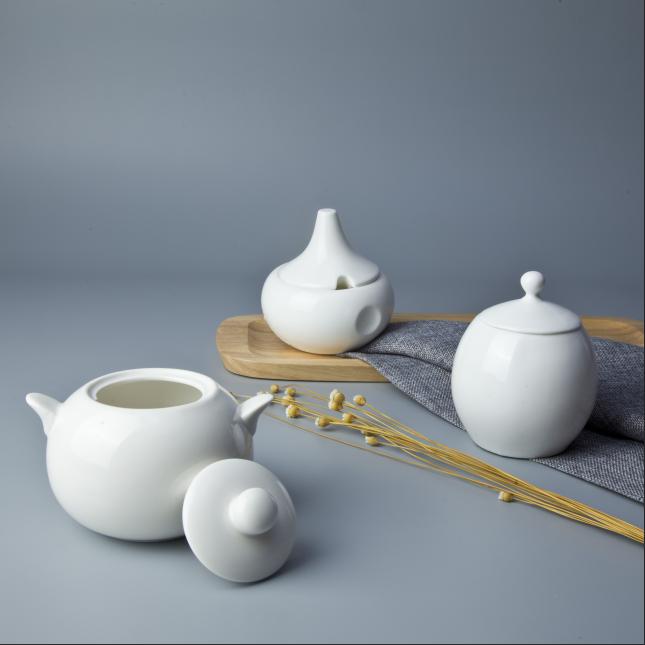 China supplier decent variety porcelain bowls sugar milk pot ceramic bowls with lids