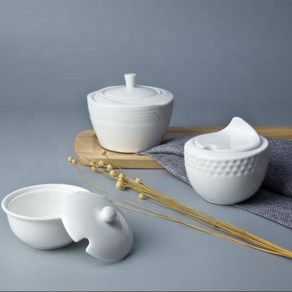 White Fine China Porcelain Crockery Tableware Sugar Bowl, Restaurant Quality Tableware Sugar Pot^