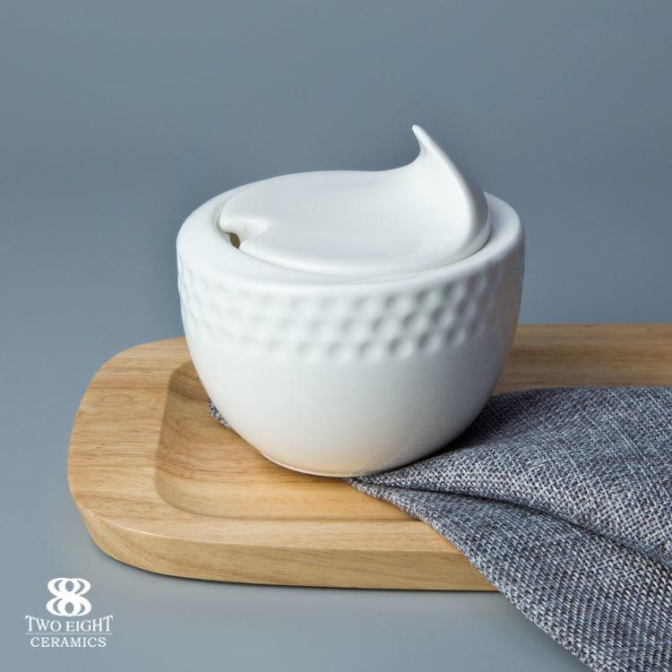 Made in China ceramic canister set deep golf shape salt tea flour sugar canisters