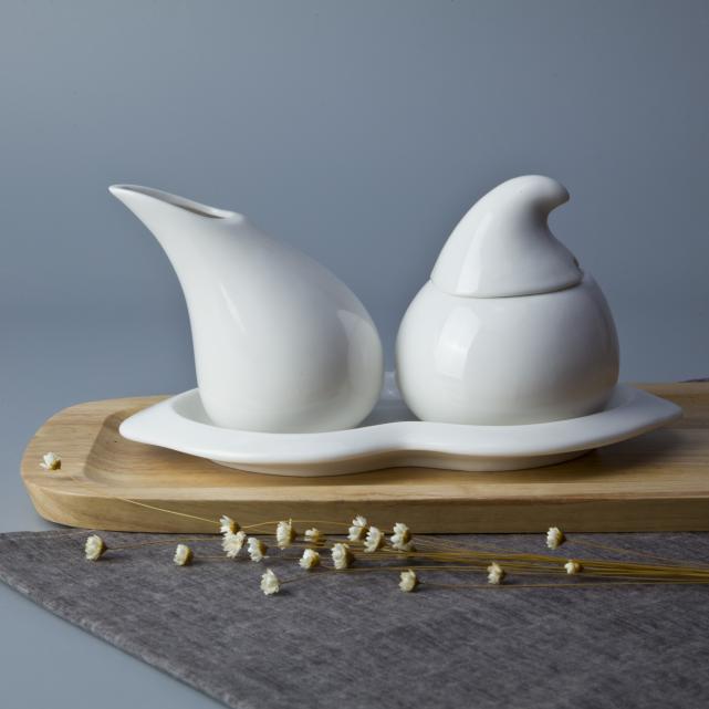 Restaurant crockery tableware unique design milk pot sugar bowl set