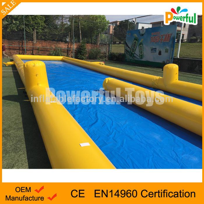 blue 1000 ft slip n slide inflatable city slide the city