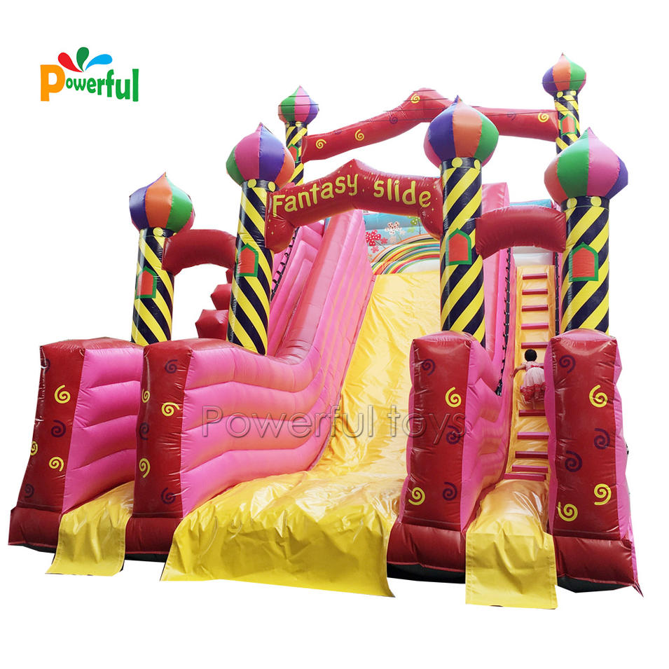 inflatable slide aladdin with obstacle jumping areas for kids