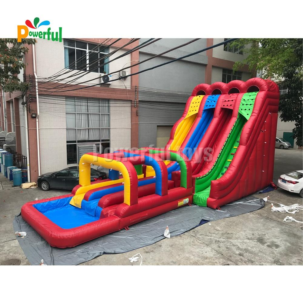Funny Outdoor Water Slides Rainbow Inflatable Slide Colorful Blow Up Pool Water Slides