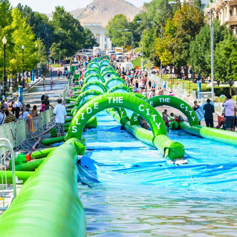 Inflatable water city slip n slide