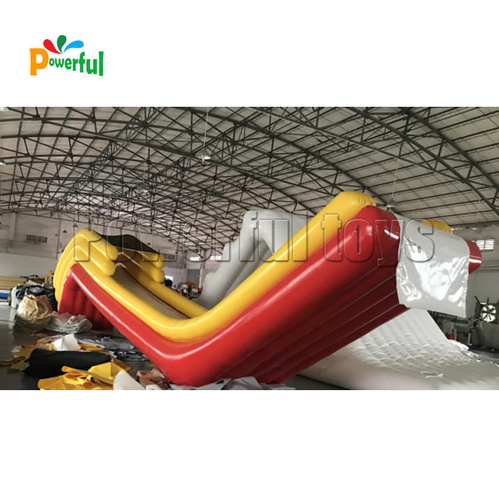 Yellow inflatable water yacht slide houseboat slide with net