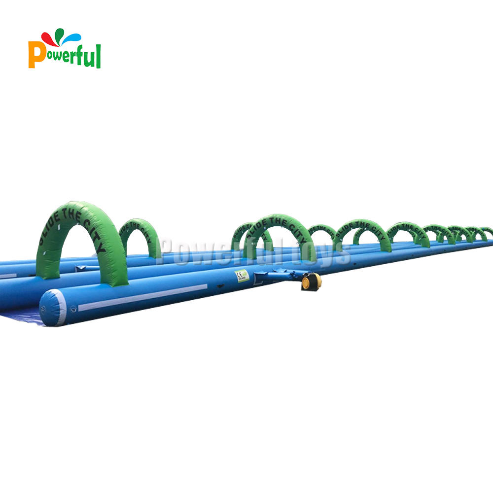Customized 120m+ long size giant inflatable slip n slide with arches