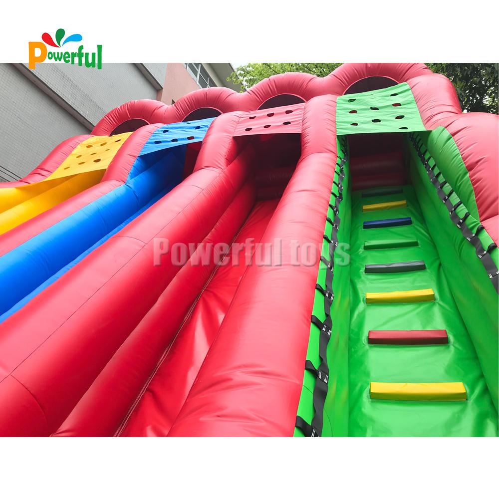 Giant Rainbow Colorful Three Lane Triple lane inflatable water slidewith slip surf n slide
