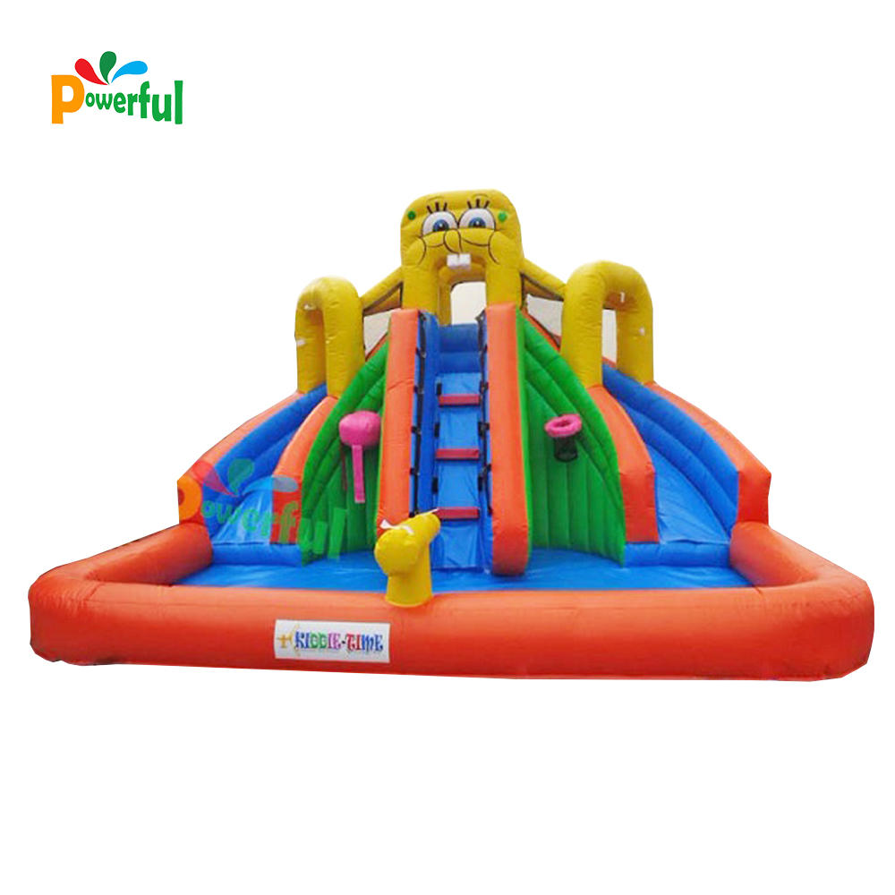 double lane inflatable water slide with pool and Basketball stand