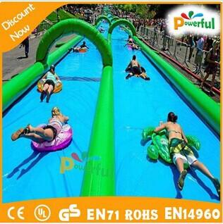 50m 100m long size slip and slide inflatable water slip n slide for sale
