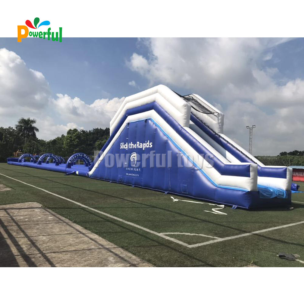 Custom curved blow up water slide inflatable slip and slide with ramp