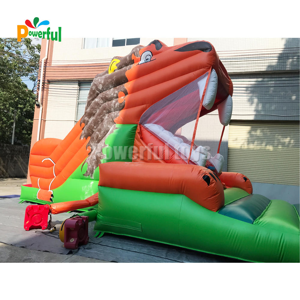 Outdoor commercial funny inflatable lion slide inflatable snappy lion dry slide for sale