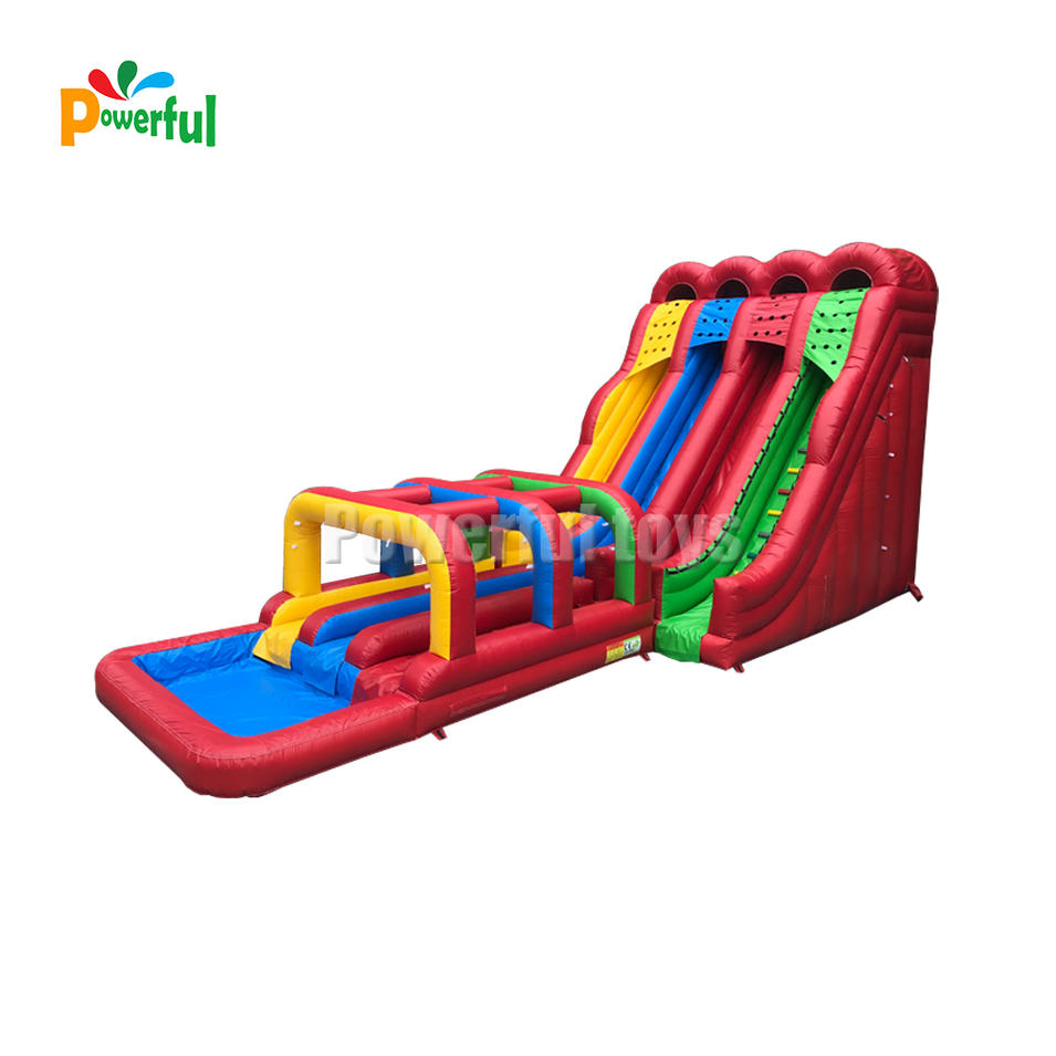 Giant double lanes inflatable rainbow colorful slide for party rental