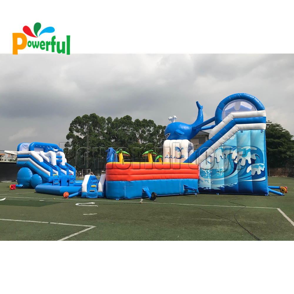 Commercial inflatable water park inflatable water slide with big swimming pool for kids