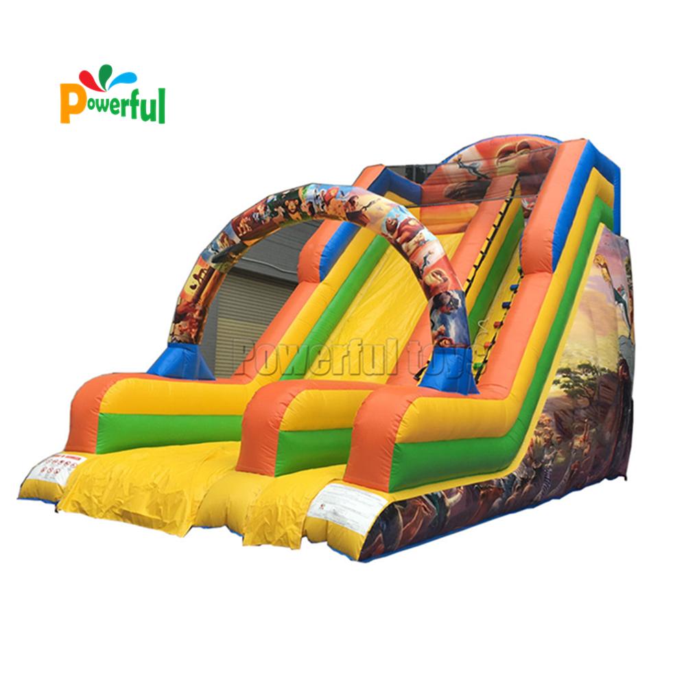 Popular cartoon theme kids playground inflatable dry bouncy castle slide