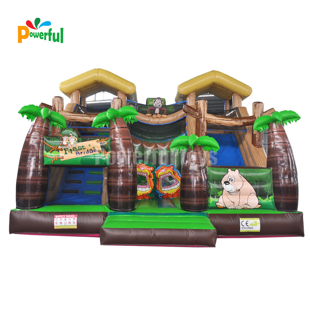 Customized jungle slide inflatable bounce jumping cartoon slide for sale