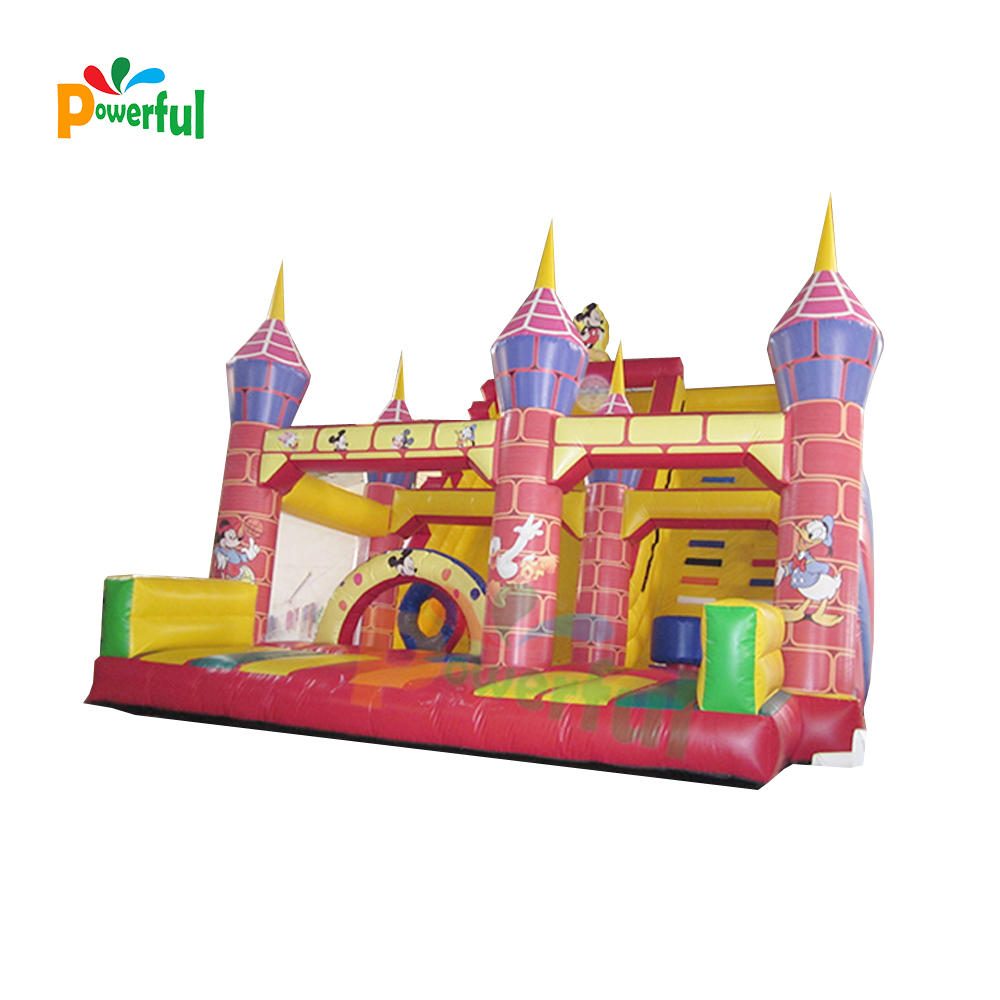 Commercial giant cartoon inflatable slide with obstacle for kids