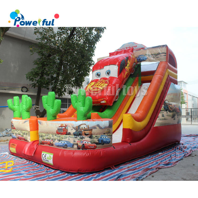 2020 new style inflatable dry slide, racing car inflatable slide for sale