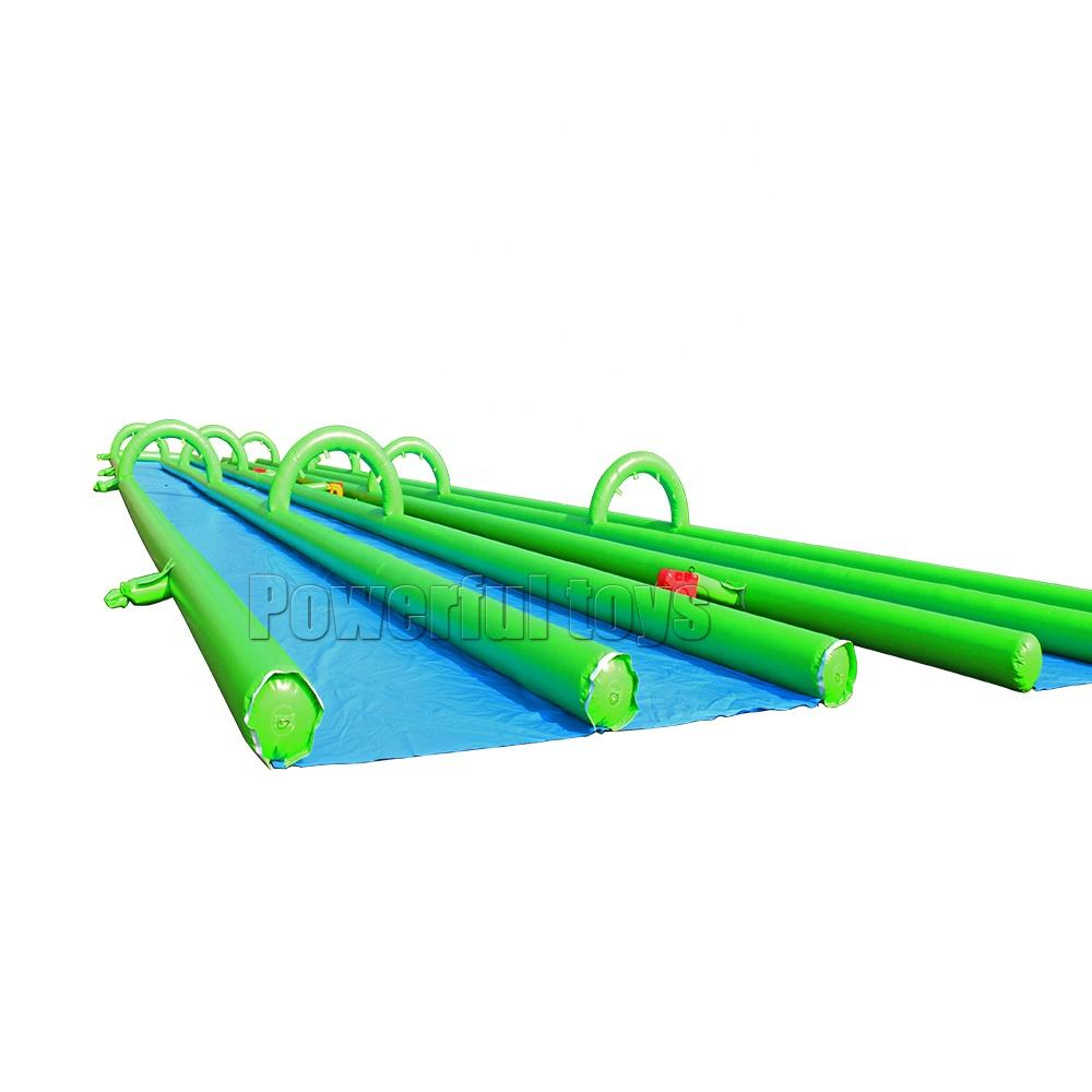 Two lane 100m inflatable slip n slide water party inflatable belly slide for sale