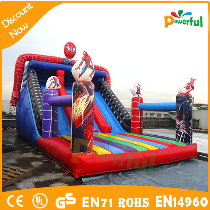 Inflatable big octopus and spider man giant slide inflatable double slide with mid stair