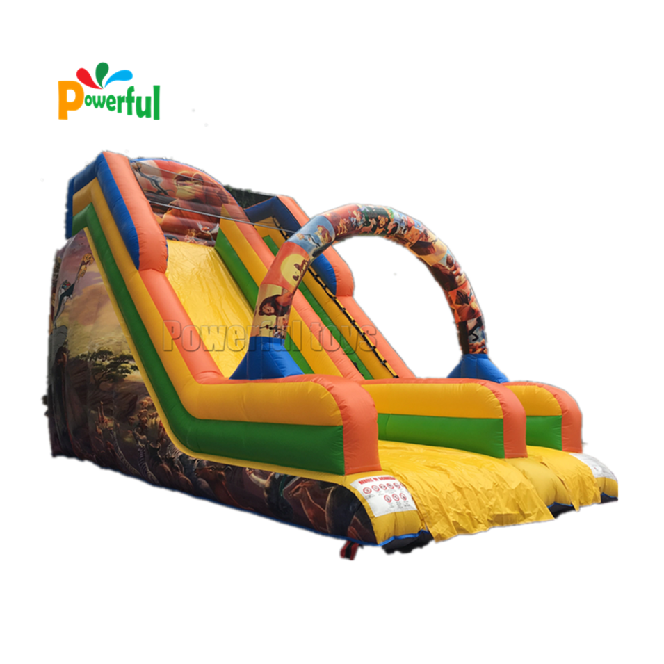 Popular cartoon theme kids playground inflatable dry bouncy castle slide