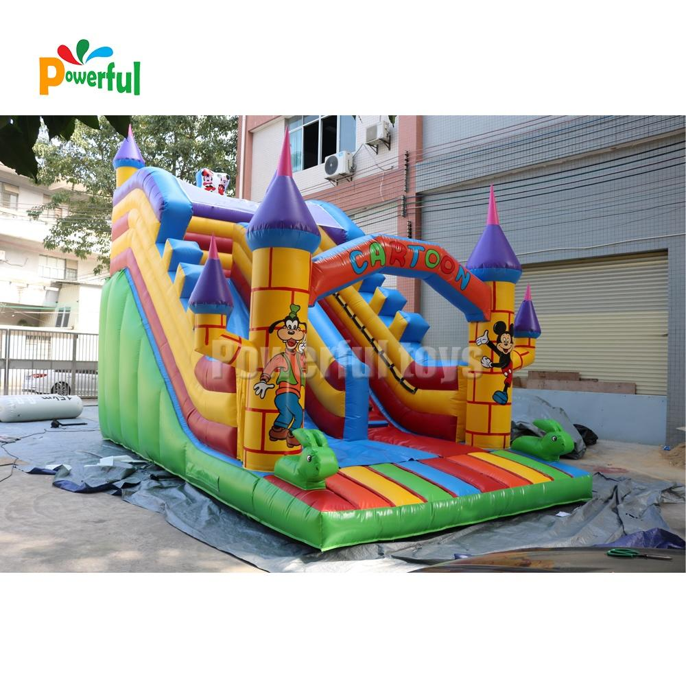Outdoor giant cartoon inflatable bouncer slide for kids