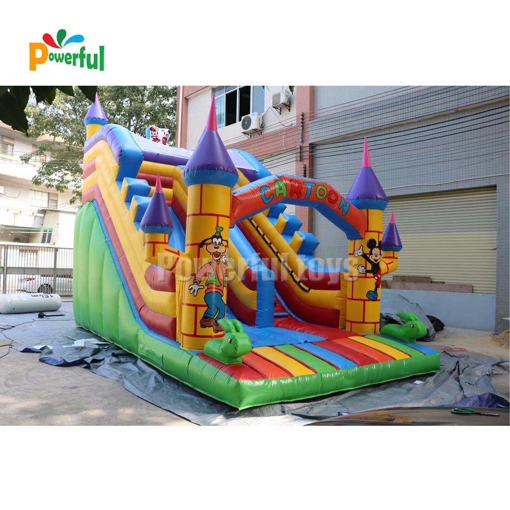 Outdoor giant cartoon inflatable bouncer slide for kids