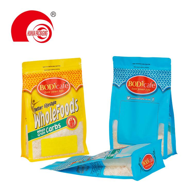 Custom Printing Food Packaging Plastic Bag Box Bottom Custom Ziplock Bags with Window