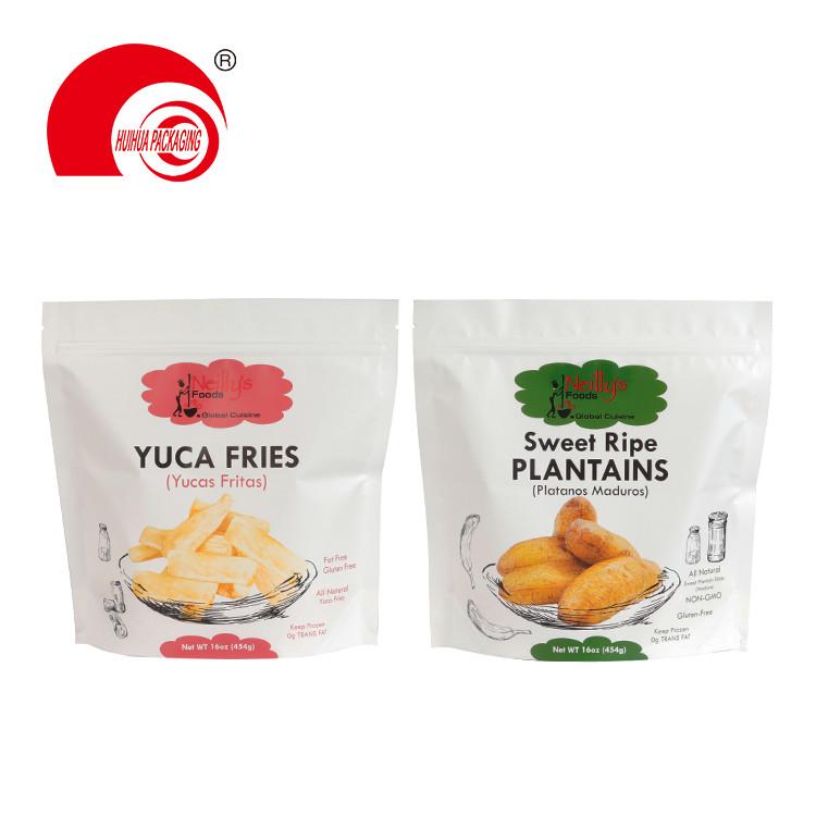 Matt Finish Aluminum Foil Custom Snack Bag Yuca Fries Ripe Plantains Stand Up Zipper Packaging Pouch