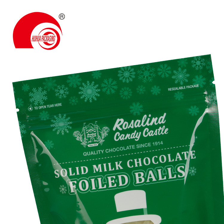 product-Custom Milk Chocolate Foiled Balls Doypack Stand Up Zip Lock Snack Food Packaging Bag-Huihua-1