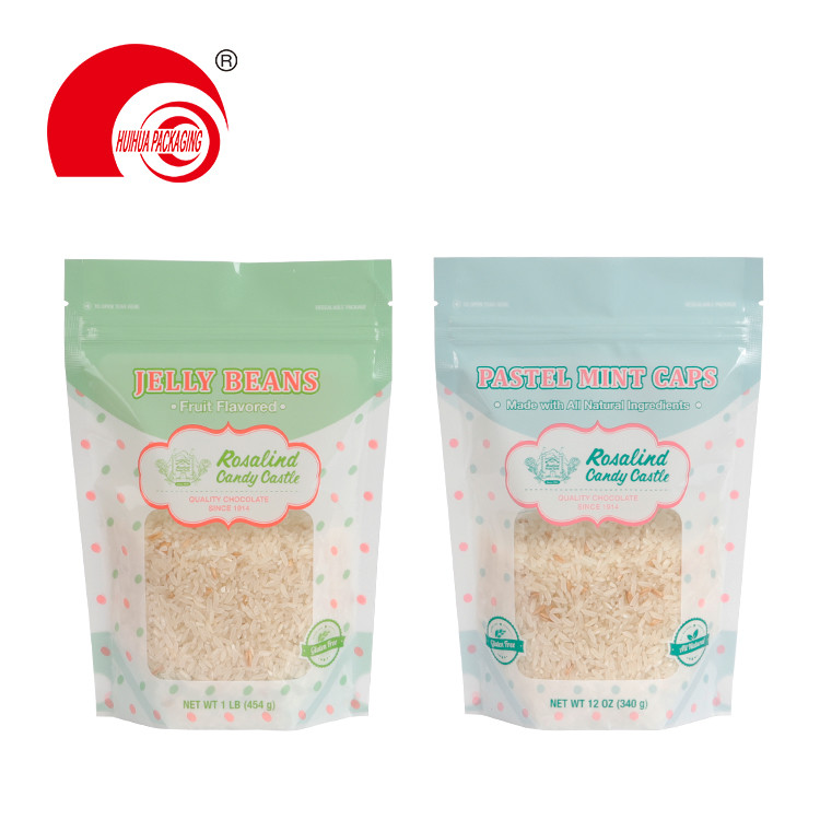 Customized Stand Up Jelly Beans Packing Packaging Pouch Clear Window Snack Food Storage Bag