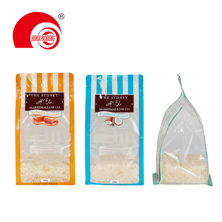 product-Custom Flat Bottom Snack Food Packaging Plastic Bag Food Grade Clear Window Packing Pouch-Hu-1