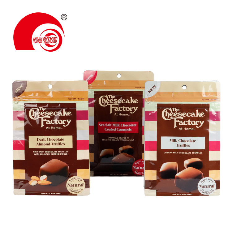 Custom Dark Chocolate Coated Almond Truffles Packaging Square Bottom Snack Packaging Pouch