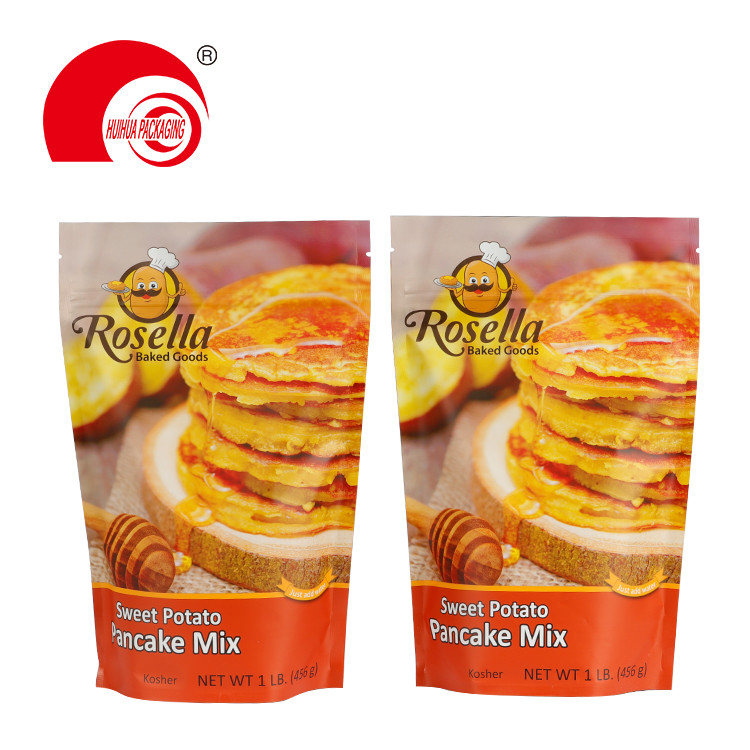 Flexible Plastic Vacuum Snack Food Packaging Bag Potato Pancake Mix Packing Pouch with Tear Notch