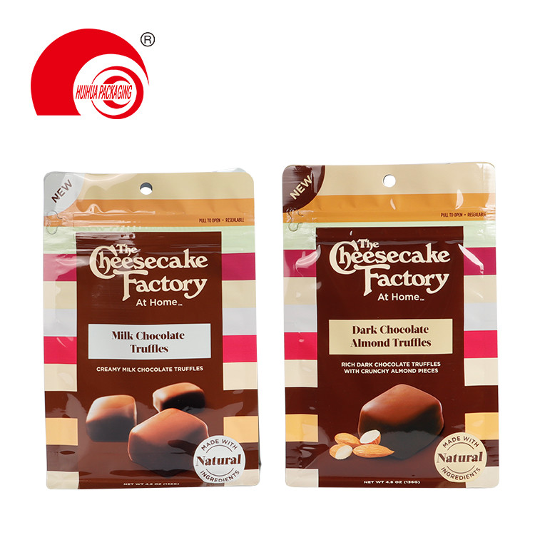 Customized Box Bottom Snack Food Bags Milk Chocolate Truffles Packaging Pouch with Hanging Hole