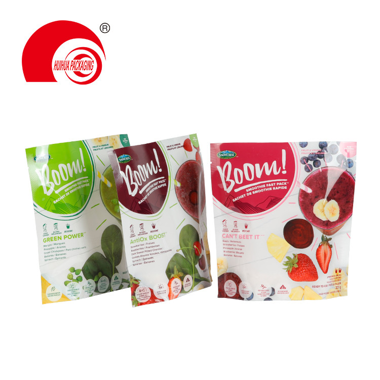Resealable Food Packaging Plastic Bag Laminated Fruit Packing Pouch with Tear Notch