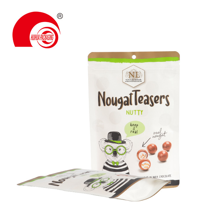 product-Huihua-Food Grade Snack Packaging Pouch Nutty Nougat Teasers Packaging Resealable Paper Bag