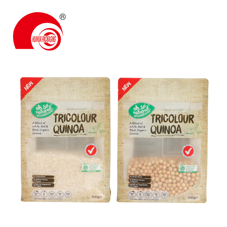 Custom Flat Bottom Food Packaging Bag 500g Tricolour Quinoa Packing Pouch with Clear Window