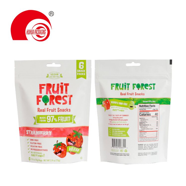 Fruit Snack Foil Bag Strawberry Apple Pear Packing Pouch with Euro Hole Resealable Zipper