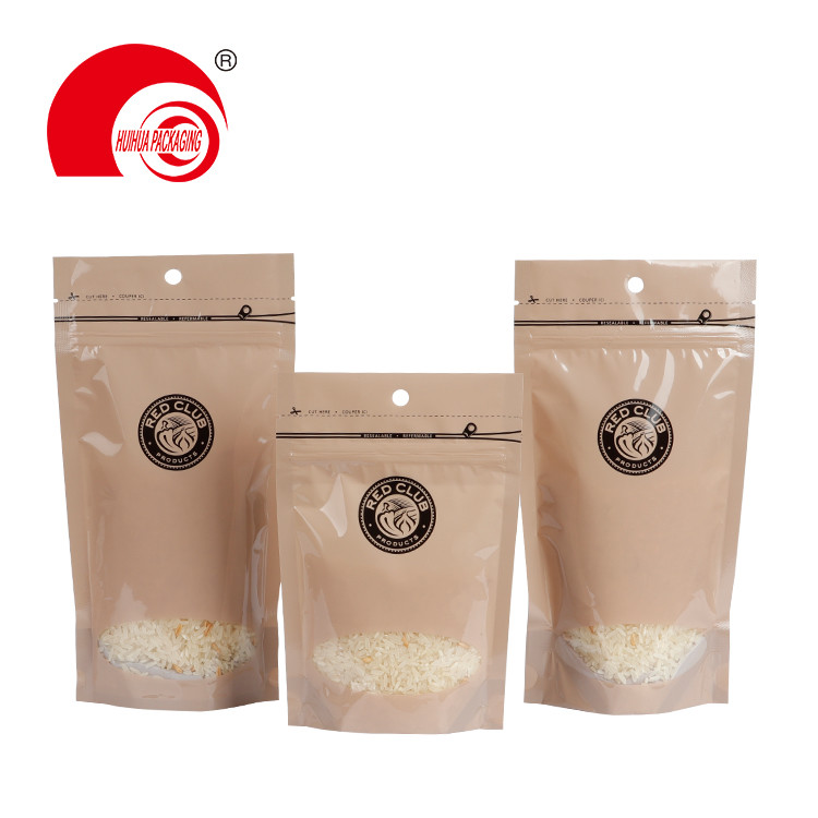 Food Grade Stand Up Plastic Packaging Bag Snack Food Storage Pouch with Clear Window and Zipper