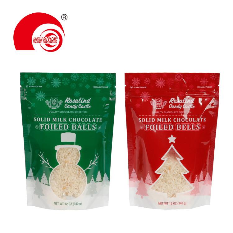 Custom Milk Chocolate Foiled Balls Doypack Stand Up Zip Lock Snack Food Packaging Bag