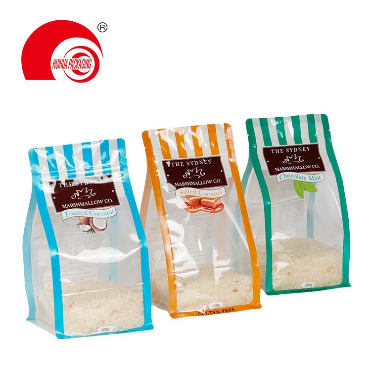 product-Huihua-Custom Flat Bottom Snack Food Packaging Plastic Bag Food Grade Clear Window Packing P