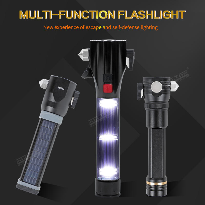 Multifunctional Usb Rechargeable Aluminum Smd Solar Tactical Led Torch Flashlight with Emergency Hammer