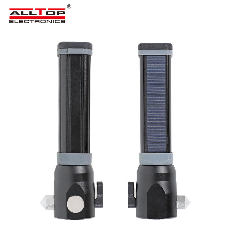 MultiFunction Outdoor Aluminium USB Charger Car Solar Powered Emergency LED Tactical Flashlight for Hiking