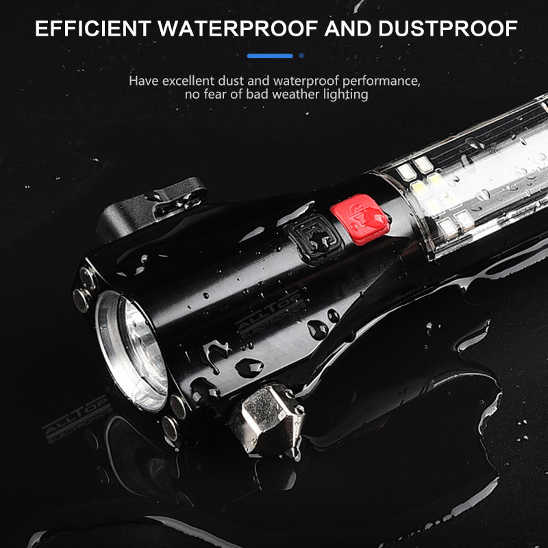 Multi-Functional Rechargeable Aluminum Alloy Safety Hammer Solar Powered LED Flashlight