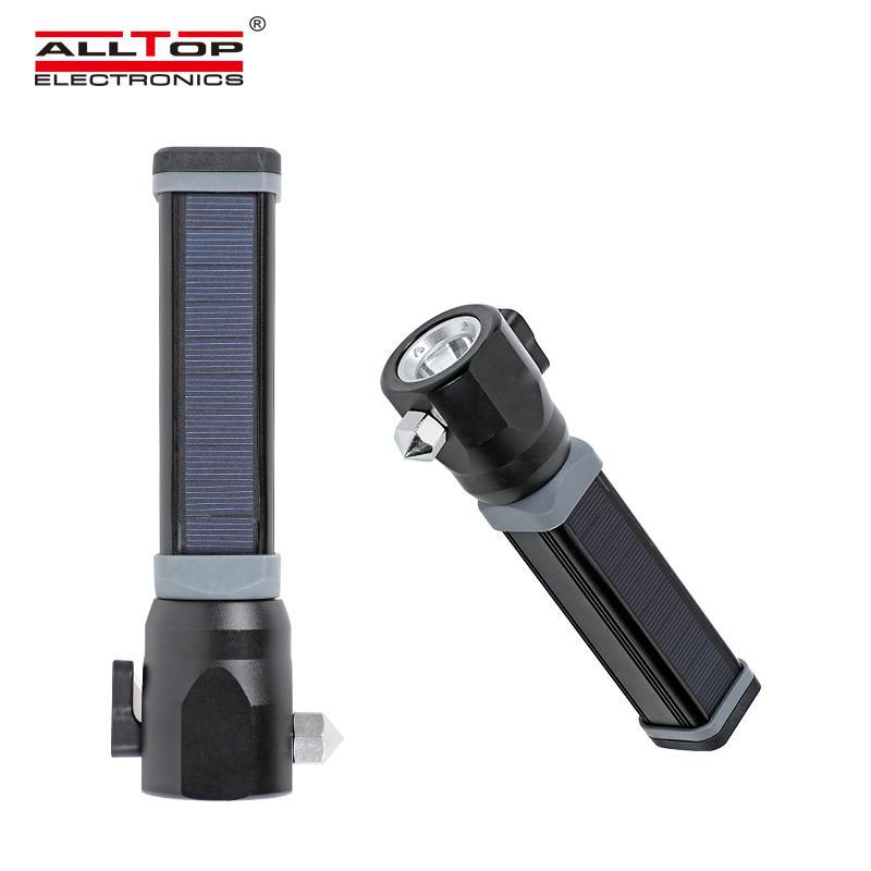 ALLTOP Multipurpose aluminium waterproof military camping USB rechargeable solar LED flashlight