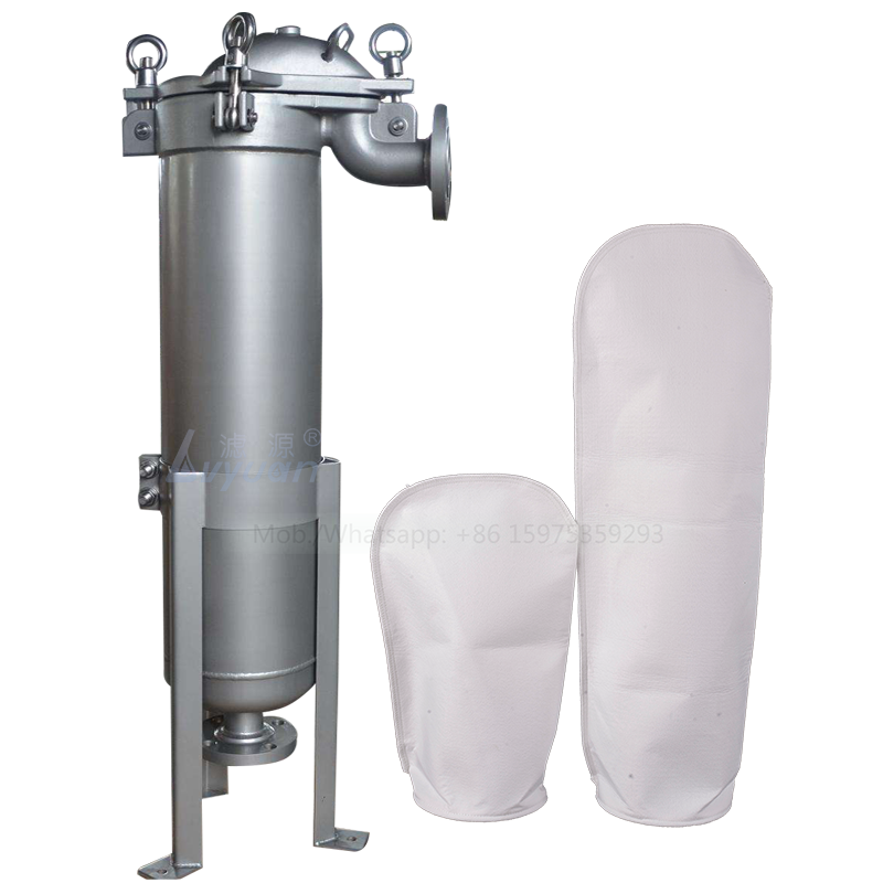 High water pressure single bag filter SS304 316L press plate type stainless steel housing with 10 microns PP plastic bag