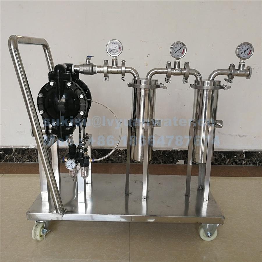 Movable Stainless steel water/Liquid/oil/wine/beer/honey bag Filter Machine with 1/2/3/4/5 stage Purification