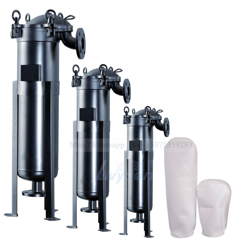 Industrial 5 microns bag liquid water filter stainless steel 304 316L top in bag filter housing for water purification
