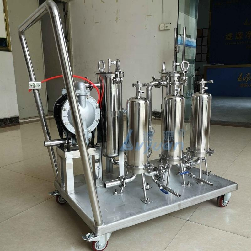 Wine/Oil/Ethanol/Liquid Filter Machine Stainless Steel Duplex Bag/Cartridge Filters with Diaphragm Pump Cart