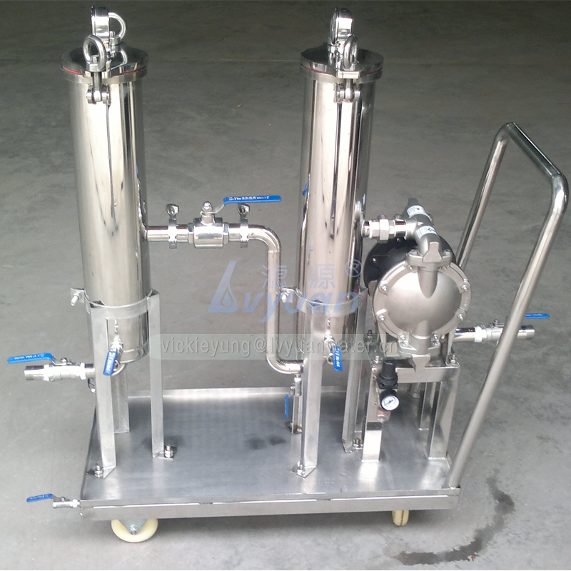 Hand cart type 1 2 steps stainless steel bag oil filter 304 316L bag filter housing machine with SS water treatment tank filter
